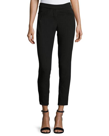 Halston Heritage Slim-Fit Ankle Pants w/ Paneled Waist