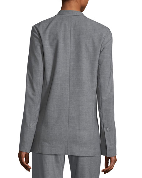 Long Double-Breasted Wool-Blend Suiting Blazer