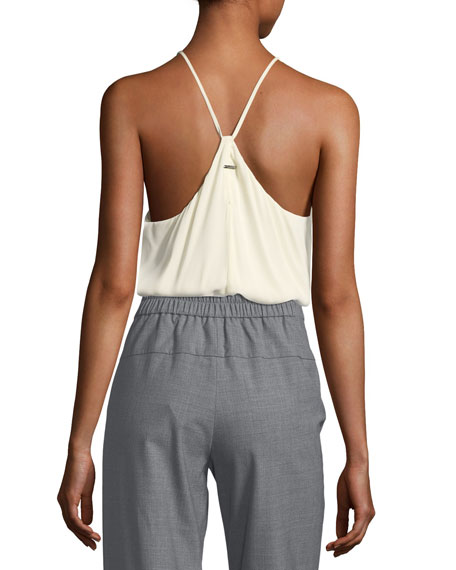 High-Neck Racerback Silk Georgette Camisole