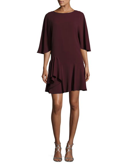 Flowy-Sleeve Dress w/ Ruffle Skirt