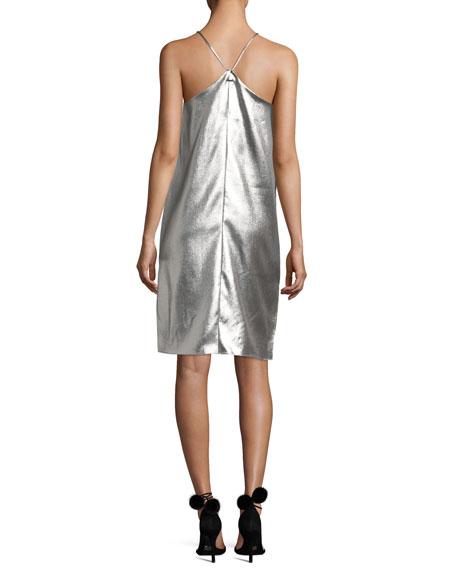 Sleeveless Racerback Metallic Slip Dress