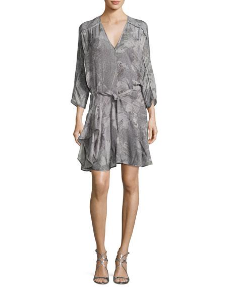 Halston Heritage V-Neck Printed Dress w/ Ruffled Skirt