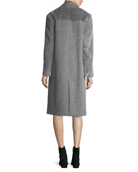 Wool-Blend Faux-Fur Combo Coat