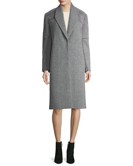Wool-Blend Faux-Fur Combo Coat