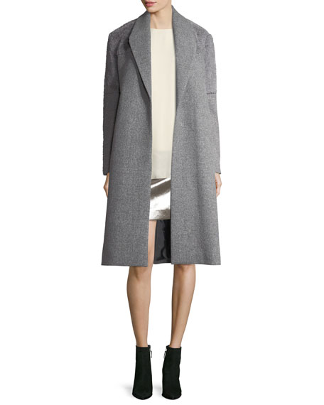 Halston Heritage Wool-Blend Faux-Fur Combo Coat and Matching