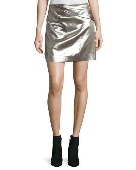 Faux-Wrap Draped Metallic Miniskirt
