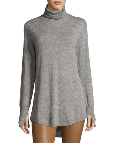 Halston Heritage Long-Sleeve Cowl-Back Tunic Sweater