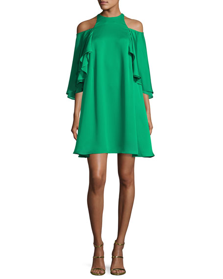 Halston Heritage Cutout Cold-Shoulder Swing Cocktail Dress,