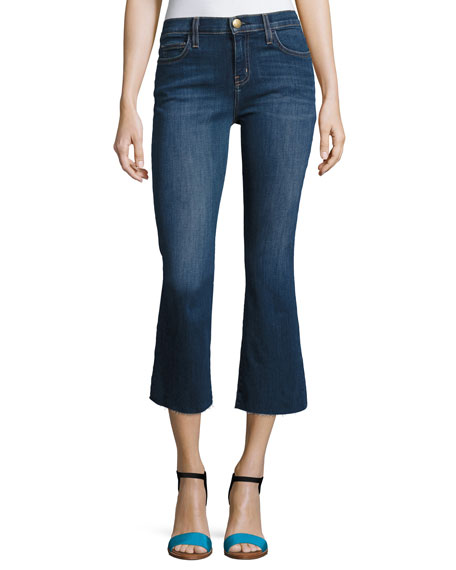 Current/Elliott The Kick Cropped Flared Jeans, Indigo