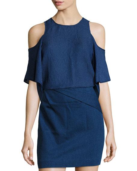 Short-Sleeve Cold-Shoulder Georgette Top