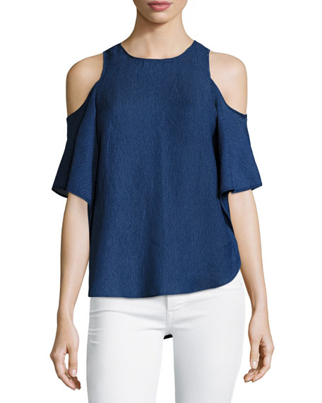 Halston Heritage Short-Sleeve Cold-Shoulder Georgette Top and