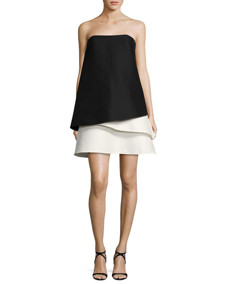 Strapless Tiered Colorblock Cocktail Dress, Black/Chalk