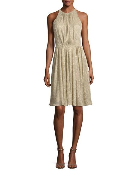 Sleeveless Textured Metallic Cocktail Dress, Pale Gold