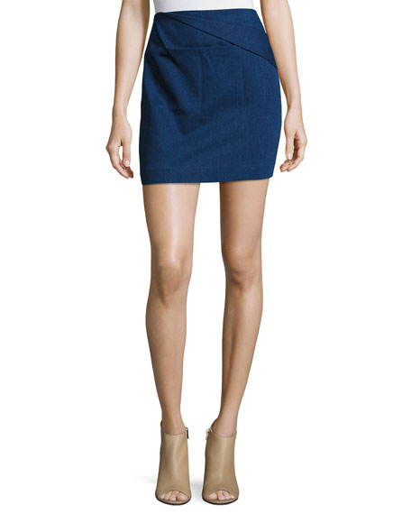 Halston Heritage Faux-Wrap Draped Mini Skirt and Matching