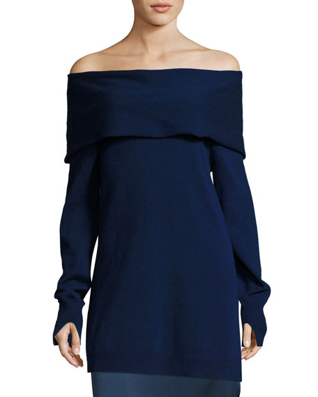 Halston Heritage Long-Sleeve Fold-Over Off-the-Shoulder Sweater