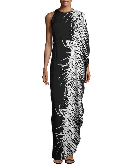 Halston Heritage Asymmetric Printed Chiffon Gown, Black Botanical