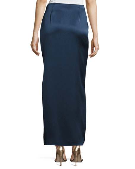 Satin Maxi Skirt w/ Side Slit