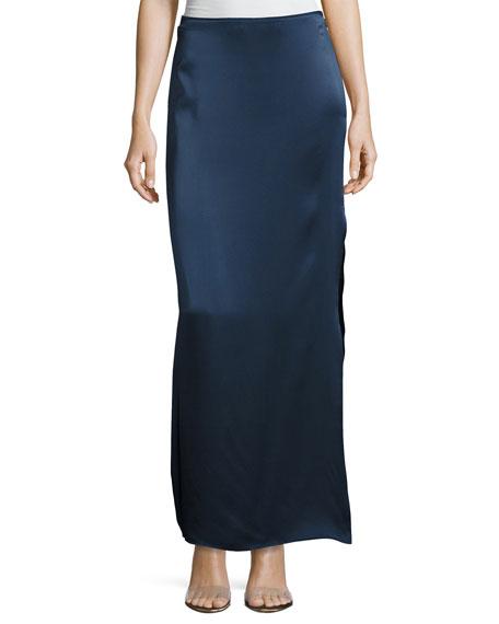Satin Maxi Skirt w/ Side Slit