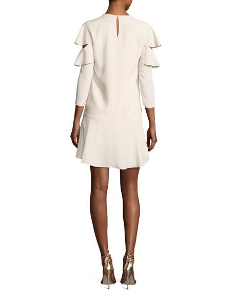 Long-Sleeve Jewel-Neck Short Dress