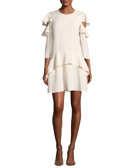 Halston Heritage Long-Sleeve Jewel-Neck Short Dress
