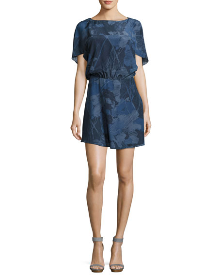 Boat-Neck Short-Sleeve Graphic-Printed Dress