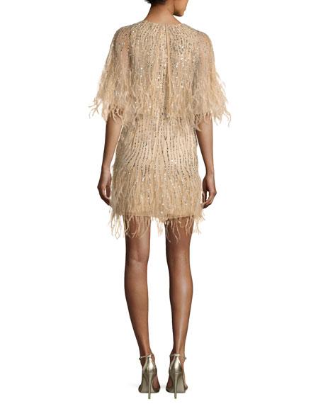 Kendra Embellished Feather Fringe Cape Cocktail Dress, Sand