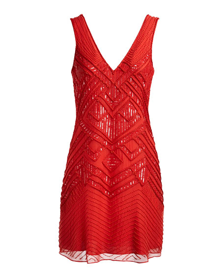 Lucy Sleeveless Patterned Silk Georgette Cocktail, Coral