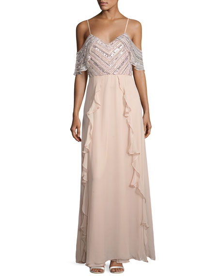 Parker Black Irene Embellished Silk Chiffon Cold-Shoulder Gown,