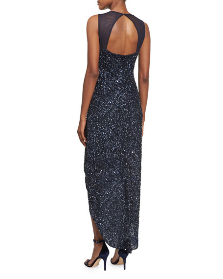 Nellie Sleeveless Beaded High-Low Gown, Navy