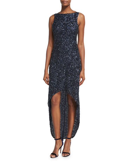 Parker Black Nellie Sleeveless Beaded High-Low Gown, Navy