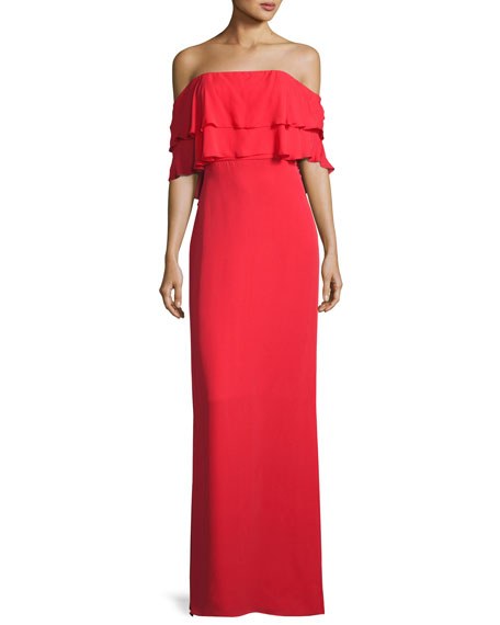 Parker Black Helen Tiered Off-the-Shoulder Silk Gown, Coral