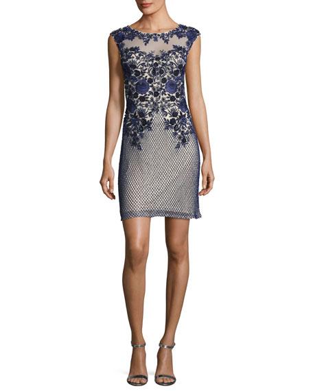 Parker Black Montclair Cap-Sleeve Floral Mesh Cocktail Dress,
