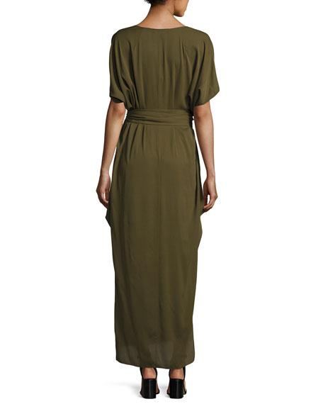 Flowy Deep V-Neck Silk Georgette Maxi Dress
