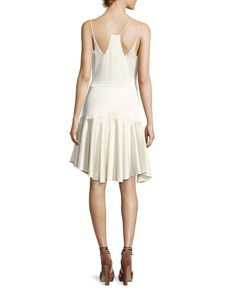 Sleeveless Deep-V Satin Cami Cocktail Dress w/ Ruffled Skirt
