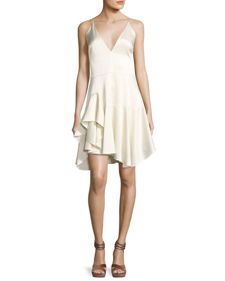 Halston Heritage Sleeveless Deep-V Satin Cami Cocktail Dress