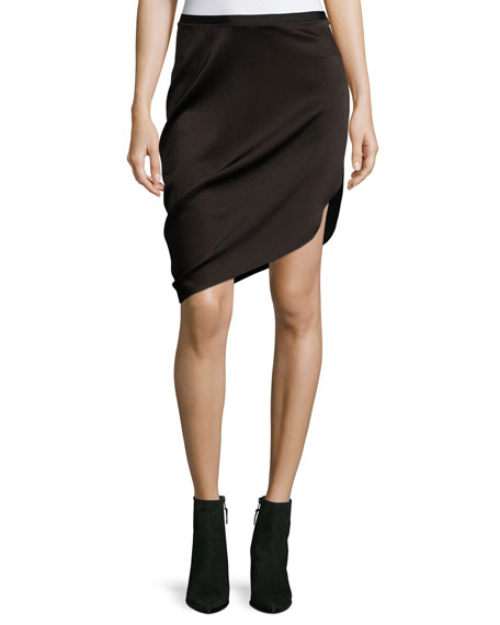 Halston Heritage Asymmetric Draped Satin Skirt