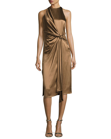 Halston Heritage Sleeveless High-Neck Draped Front Satin Dress
