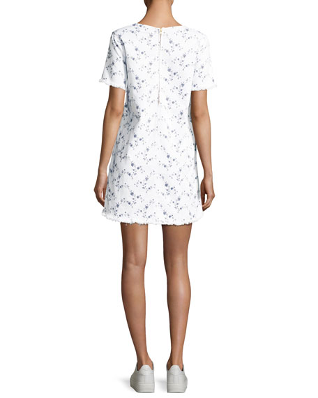 The Fray Edge Cotton Shift Dress, White