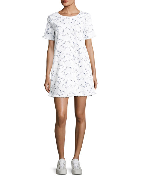 Current/Elliott The Fray Edge Cotton Shift Dress, White