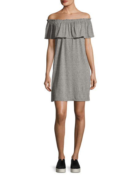 Current/Elliott The Ruffle Off-the-Shoulder Dress, Gray