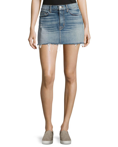 Vivid Denim Mini Skirt W/ Released Hem, Indigo