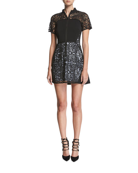 A.L.C. Jude Short-Sleeve Zip-Front Lace Mini Dress
