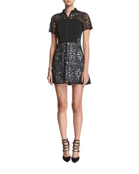 A.L.C. Jude Short-Sleeve Zip-Front Lace Mini Dress