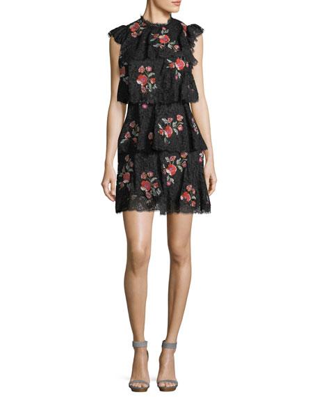 Sleeveless Lace Dress W/ Embroidery