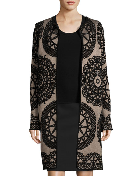 M MISSONI Medallion Jacquard Long Jacket, Taupe, Beige