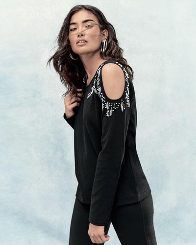 Beaded Open-Shoulder Long-Sleeve Top, Black