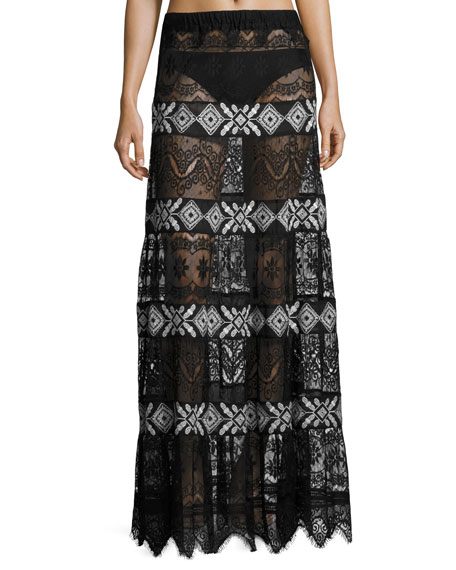 Trinidad Lace Panel Sheer Coverup Skirt, Black