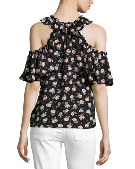 Rosalie Cold-Shoulder Ruffled Top, Black Multi