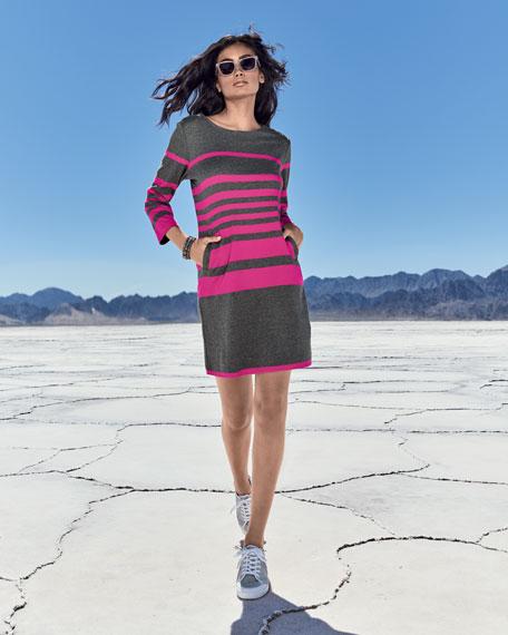 Striped Cotton Two-Pocket Shift Dress, Gray/Pink, Petite