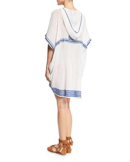 Isabell Lace-Up Embroidered Short Caftan Coverup, White